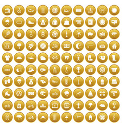 100 woman sport icons set gold vector