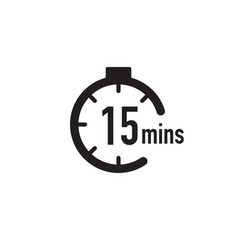 15 minutes timer stopwatch or countdown icon time vector
