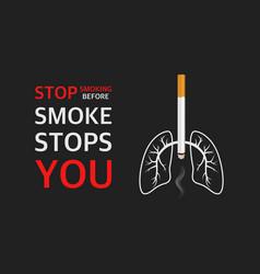 3d realistic cigarette lungs smoke vector