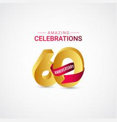60 years anniversary amazing celebration gold vector