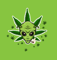 Alien with jamb smoking weed poster vector