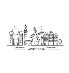 Amsterdam minimal style city outline skyline vector