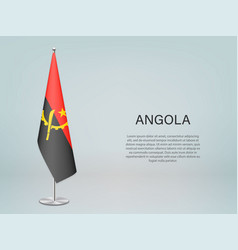 Angola hanging flag on stand template vector