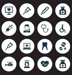 antibiotic icons set with teeth thermometer drug vector image