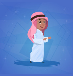Arab boy small cartoon character muslim male vector