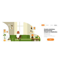 arab man using laptop living room interior home vector image