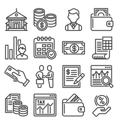 bank business and finance icons set vector image