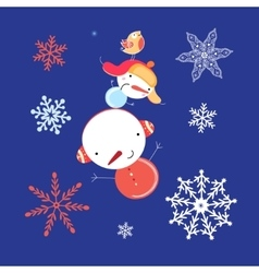 Beautiful snowman with snowflakes vector image