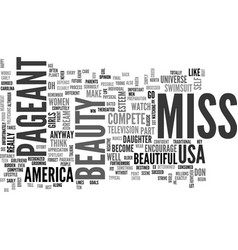 Beauty pageant text word cloud concept vector