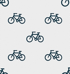 Bicycle icon sign seamless pattern with geometric vector