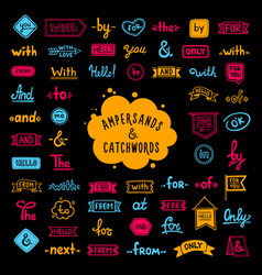 Big collection hand-drawn colored words vector