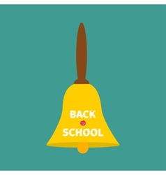 Big gold bell with handle Back to school chalk vector image