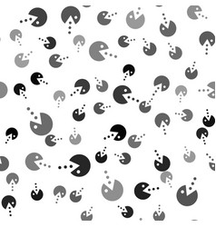 Black pacman with eat icon isolated seamless vector