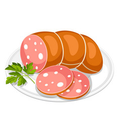 Boiled sausage slices with parsley leaf on white vector