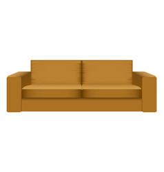 brown camel sofa mockup realistic style vector image