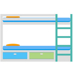 Bunk bed furniture with pillow bedroom icon vector