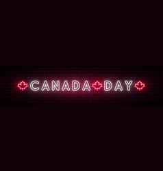 Canada day neon signboard bright horizontal vector