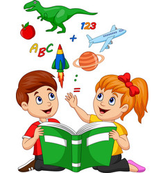 Cartoon kids reading book education concept vector
