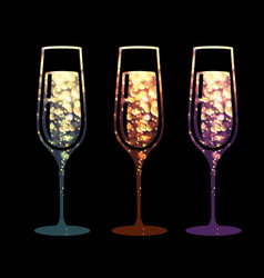 Champagne glass icon with sparkle background vector