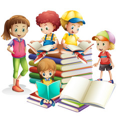 Children studying books vector