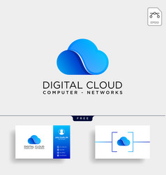 cloud digital technology line logo template vector image