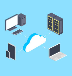 cloud storage and computers isometric vector image