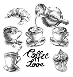 Coffee and desserts set vector