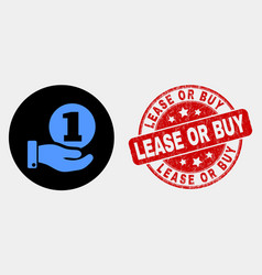 coin donation hand icon and grunge lease or vector image