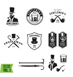 Collection of vintage gentleman emblems labels vector