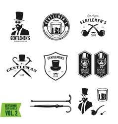collection vintage gentleman emblems labels vector image