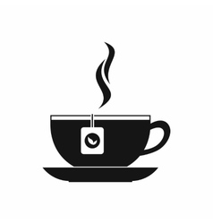 Cup with tea bag icon black simple style vector image