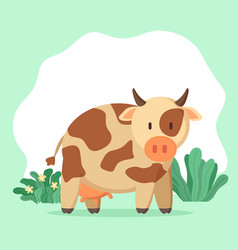 Cute cow with spots on furry coat domestic animal vector