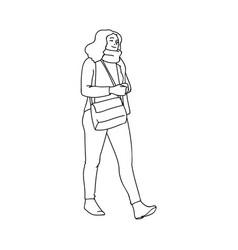 Cute girl with crossbody bag taking a walk black vector