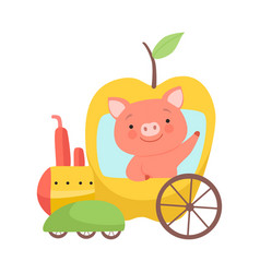 Cute little pig riding toy train made apple vector