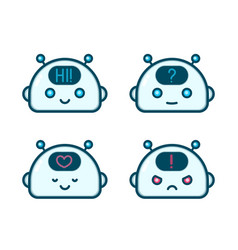 Cute robot chat bot face emotion character vector