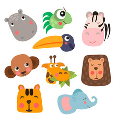 Cute safari animal faces in flat style isolated vector