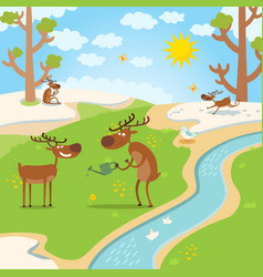 deers happy for spring thaw in forest vector image