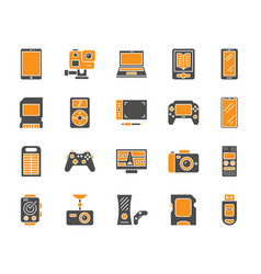 Device simple color flat icons set vector