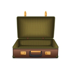 Empty retro suitcase isolated on white vector image