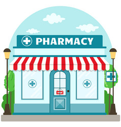 facade pharmacy store with a signboard awning vector image