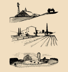 Farm landscapes set hand vector