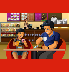 Father and son eating breakfast vector