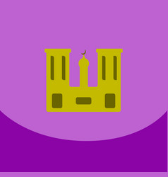 Flat icon on purple square arabic mosque with the vector
