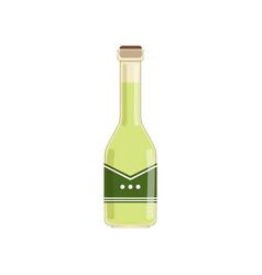 Fresh olive oil in glass bottle green liquid in vector