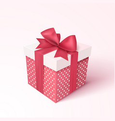 Gift box with red ribbon and bow vector