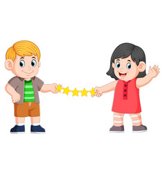 Girl and boy are holding love paper vector