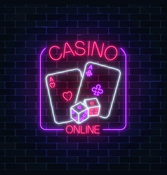 glowing neon sign of online casino application in vector image