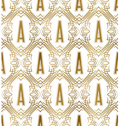 Golden initial seamless pattern with a letter vector