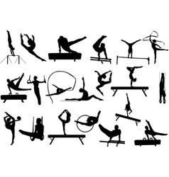 gymnastics silhouettes collection vector image