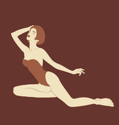 Hand drawn girl in swimsuit with vector